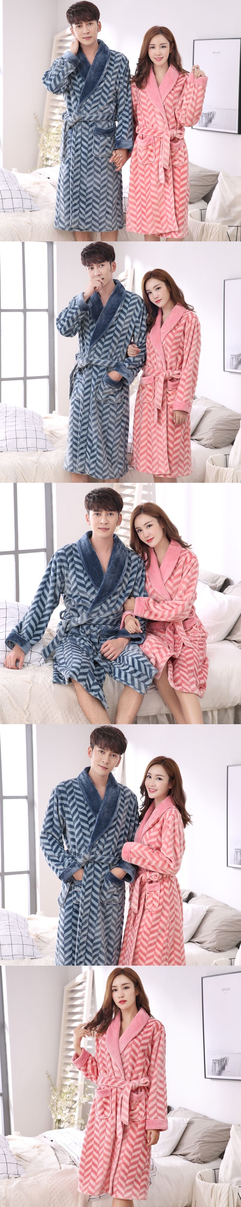 Lovers robe autumn and winter long-sleeve women s coral fleece bathrobe  warm flannel thickening male 9742e3f38