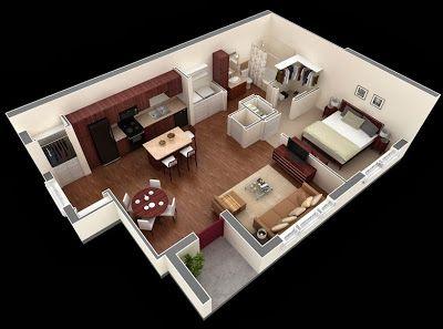 Departamentos peque os planos y dise o en 3d for Sweet home 3d mobili