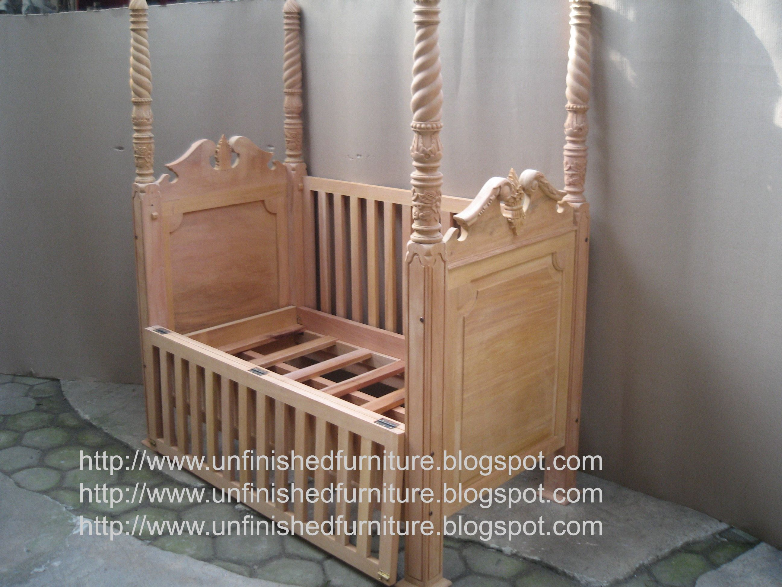 Exceptional Unfinished Mahogany Furniture, Chippendale Poster Crib ( Baby Bed ) , Made  Of Fine Solid