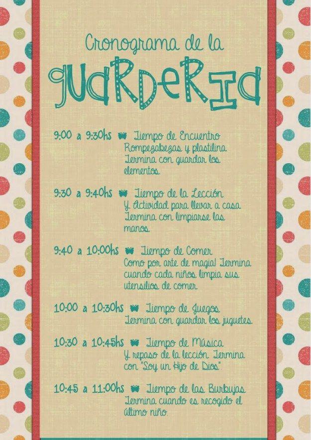 Cronograma De La Guardería Conexión Sud Guardería En Casa Actividades De Guardería Guarderia