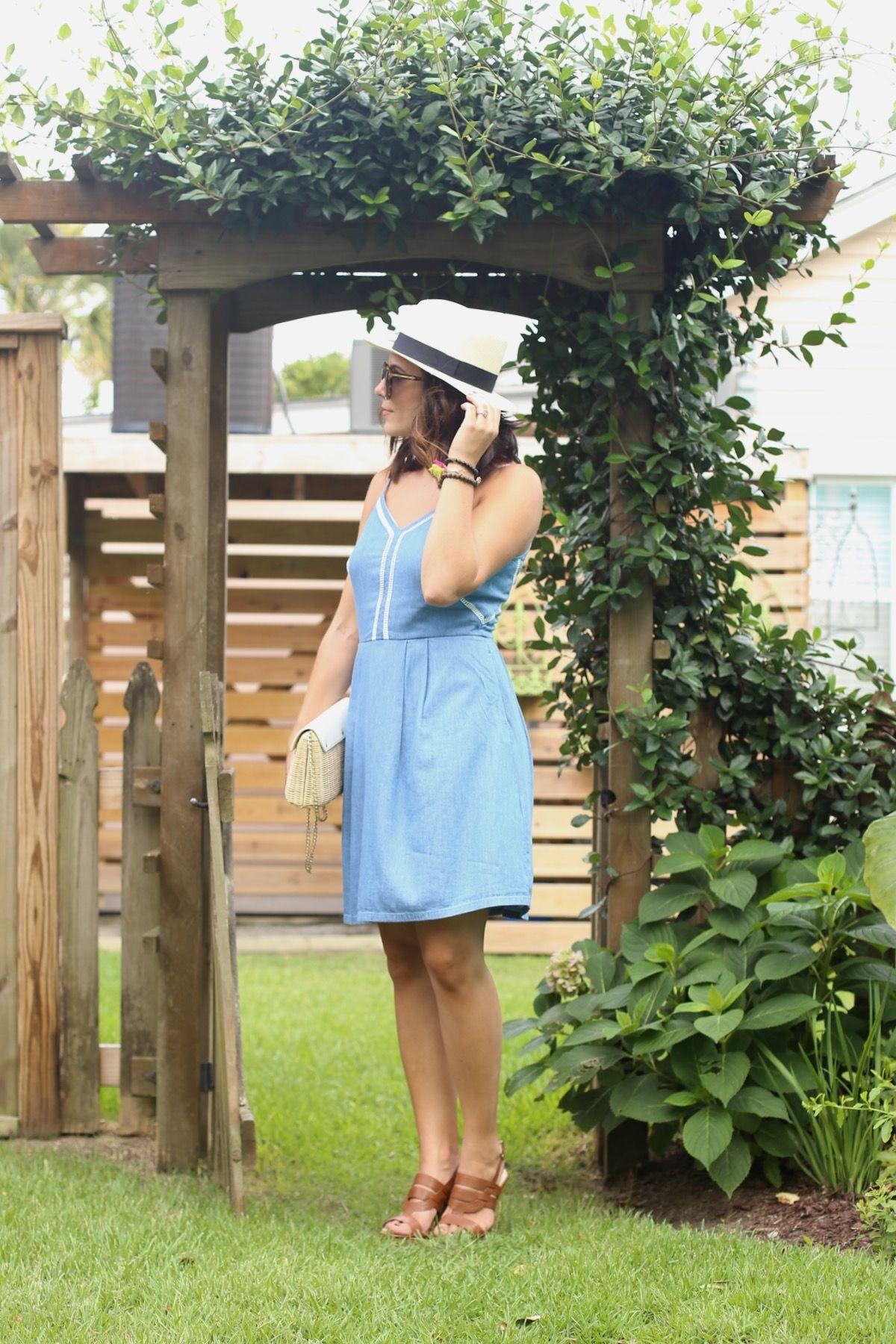 9f5435bcf96 Chambray denim summer dress and panama hat via  mysytleivta Jessica Camerata