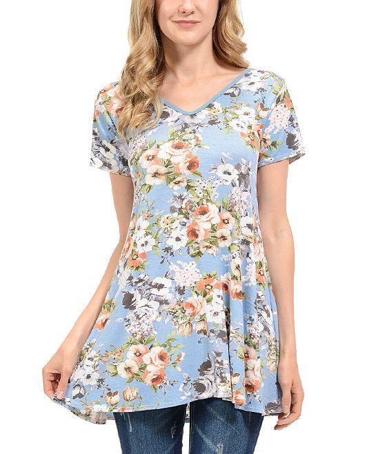 Light Denim Floral V-Neck Tunic