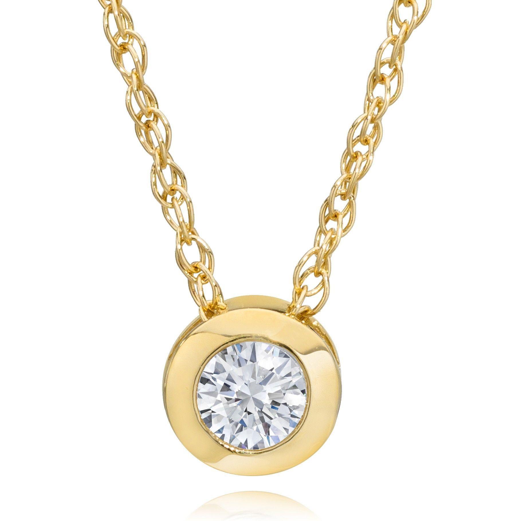 K yellow gold ct diamond bezelset pendant necklace ij ii