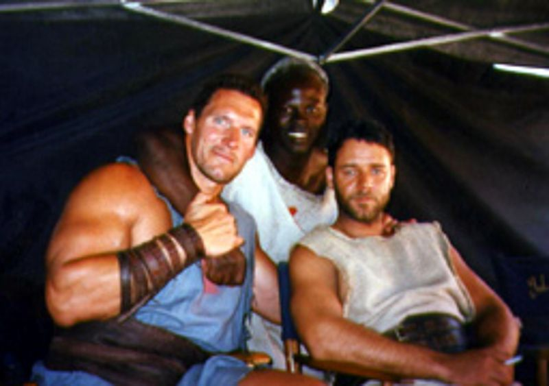 ralf moeller with russel crowe and djimon hounsou in. Black Bedroom Furniture Sets. Home Design Ideas