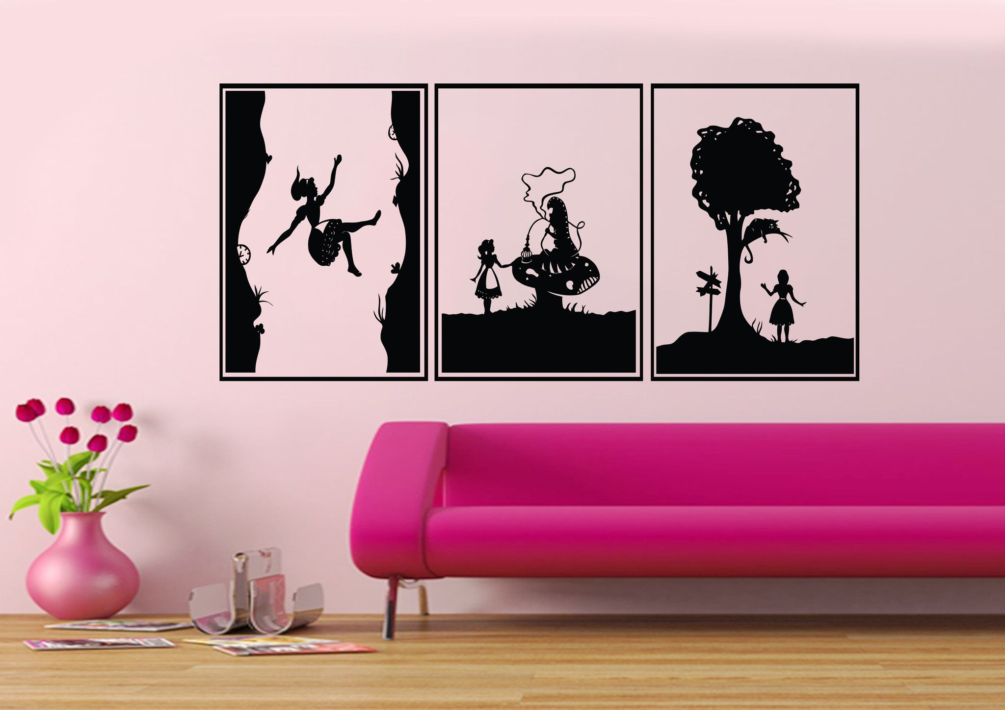Alice In Wonderland Wall Decals 3 Section Wall Mural U2013 Iwallstickers