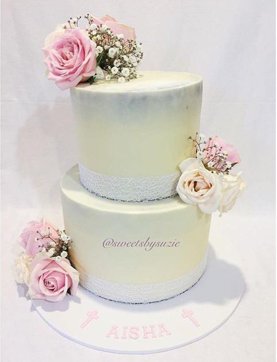 Rustic Girls Christening Cake made by Sweetsbysuzie | Sweetsbysuzie ...