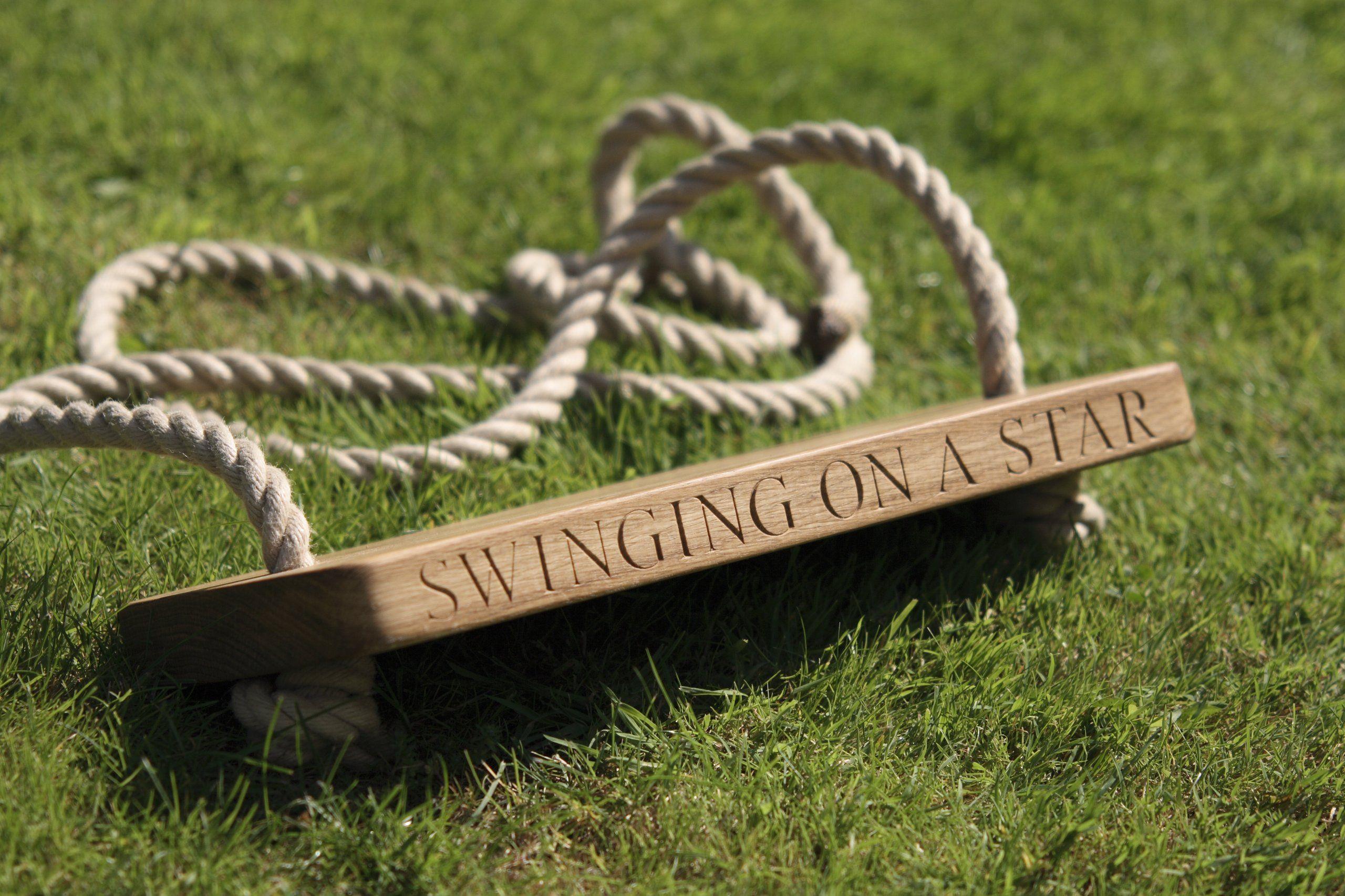 Childus handmade personalised engraved solid oak garden tree swing