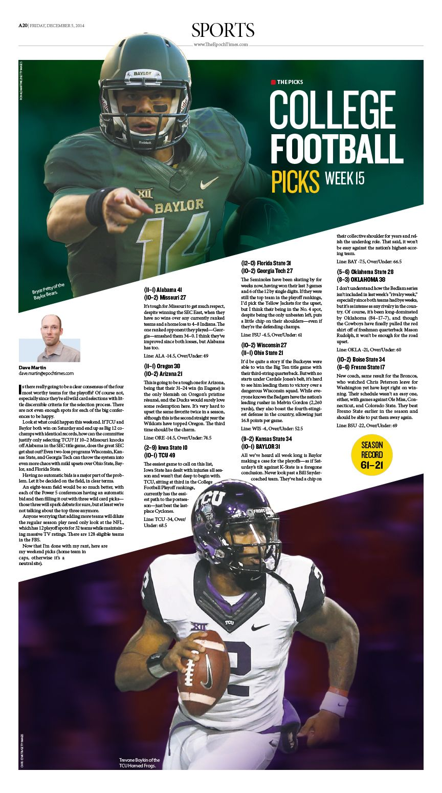 College Football Picks Epoch Times Newspaper Editorialdesign