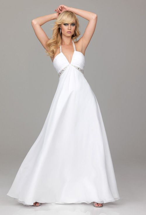 PRE-ORDER***2012 Evenings by Allure Prom Dresses - White Chiffon Empire Waist Beaded Halter Prom Dress - 0 - 18