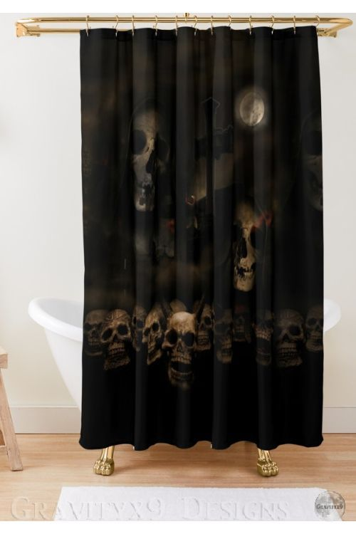 Gothic Skulls At Cemetery Shower Curtain By Gravityx9 In 2020