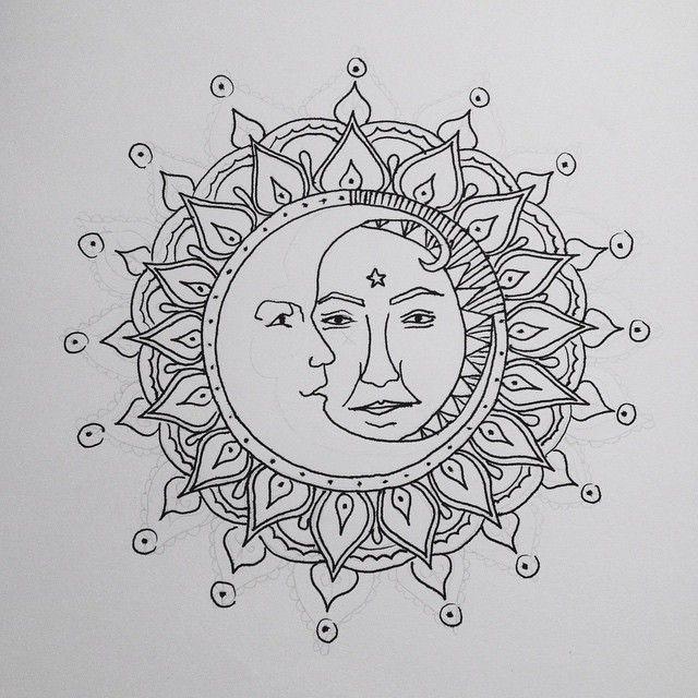708426656ebd7 ch-lamydia: next tattoo loading ✒ #sun #moon #faces #mandala #spiritual  #pen #tint #love #tattoo #desing #sketch #drawing #myart #art #artwork  #boho # ...