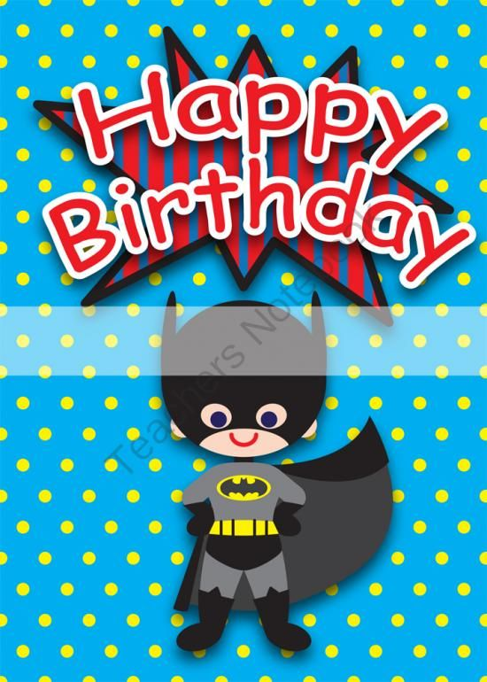 Printable ClipArt Digital PDF File Superhero 5 X 7 Inch Birthday Cards From Wonderful Dreamland On TeachersNotebook 12 Pages