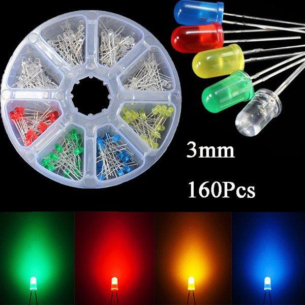 160 Pcs 3mm LED Diodes Yellow Red Blue Green Light Assortment DIY Kit