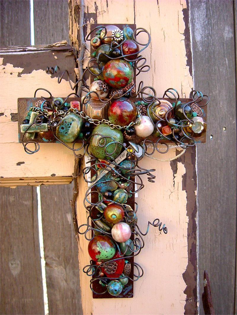 Large rusty iron wall cross with patina ceramic beads crafty ideas