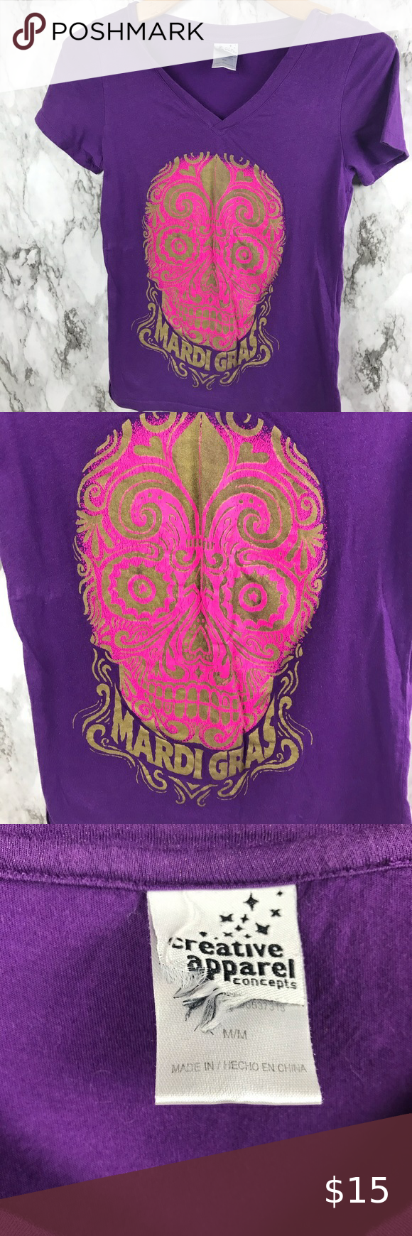 """Mardi Gras Graphic Tee Shirt Purple Size M Size Medium Pit to pit 16"""" Length is 23"""" #010 Creative Apparel Tops Tees - Short Sleeve"""