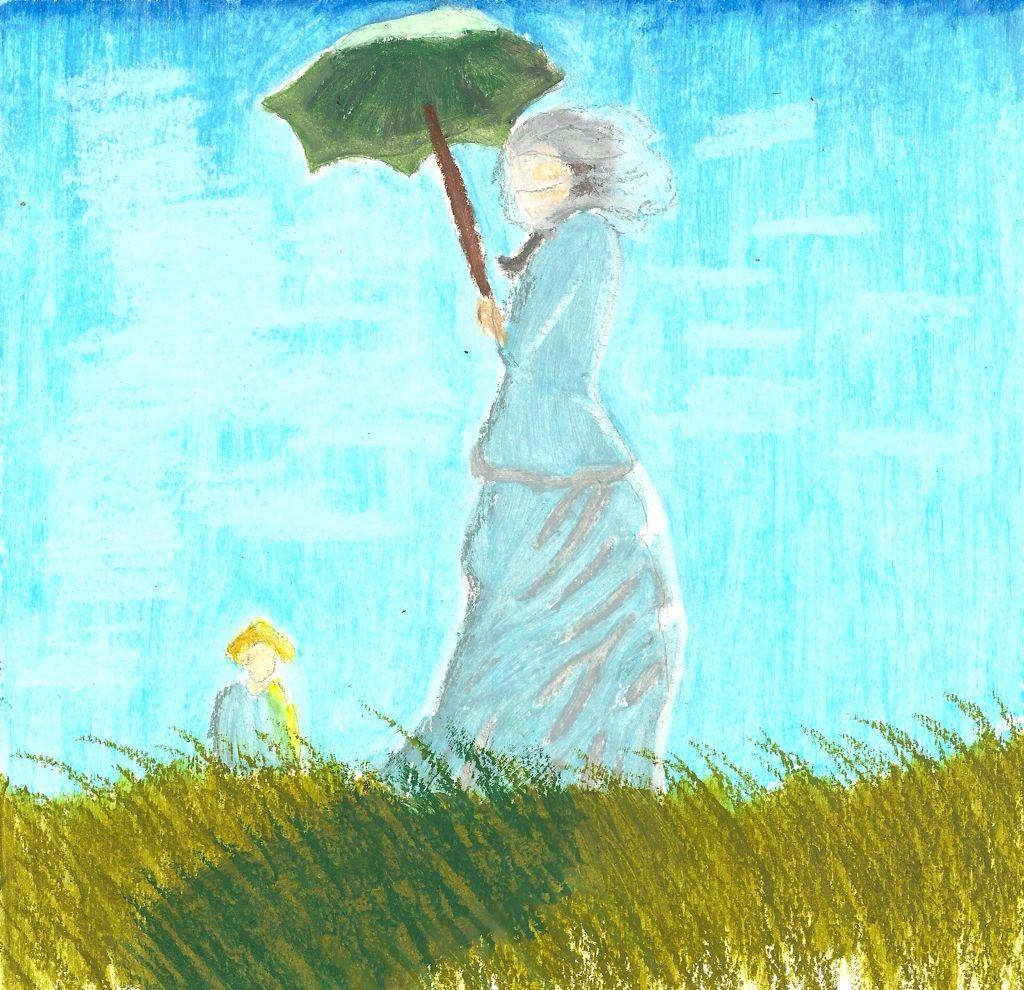 Sketch after Monet  Oil pastel
