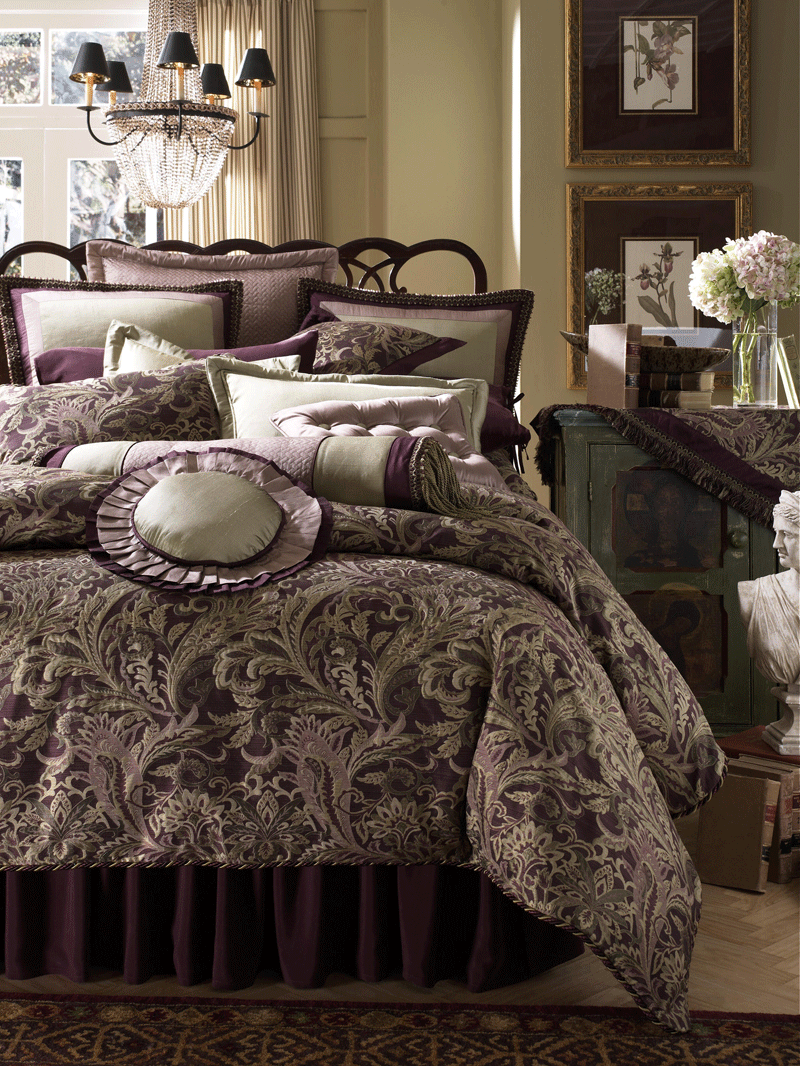 Amazing Luxury Beds Ideas With Dark Purple Bed Pillow Blanket Chandelier And Wooden Side Table White Flower