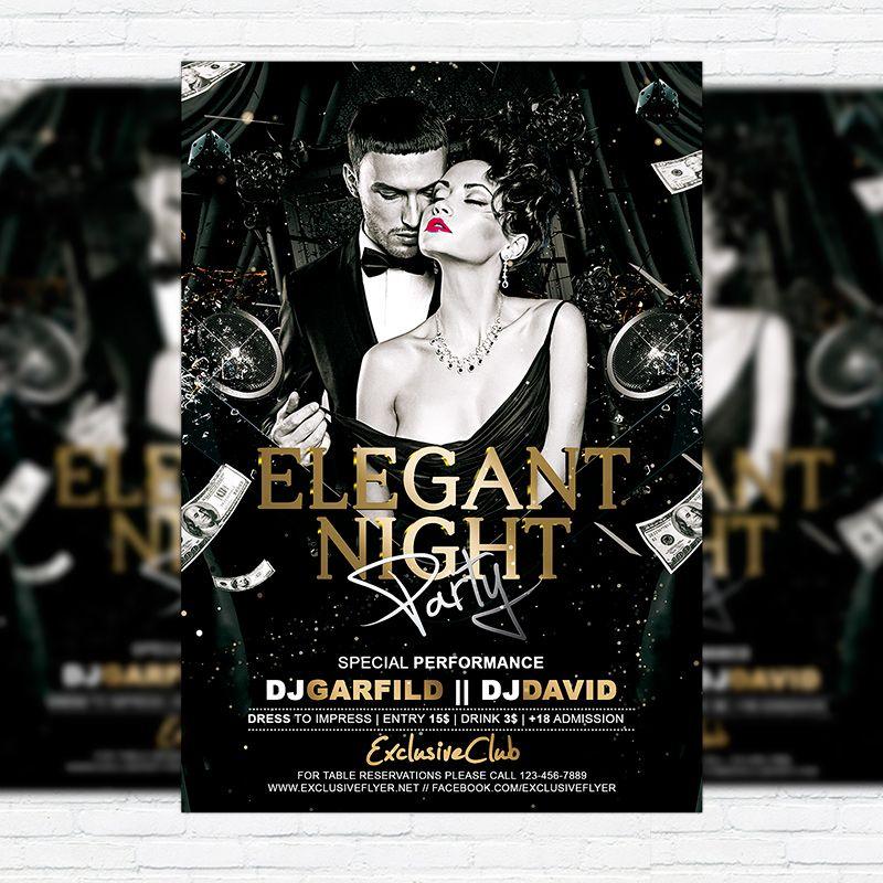 Elegant Night Party  Premium Flyer Template  Facebook Cover Http