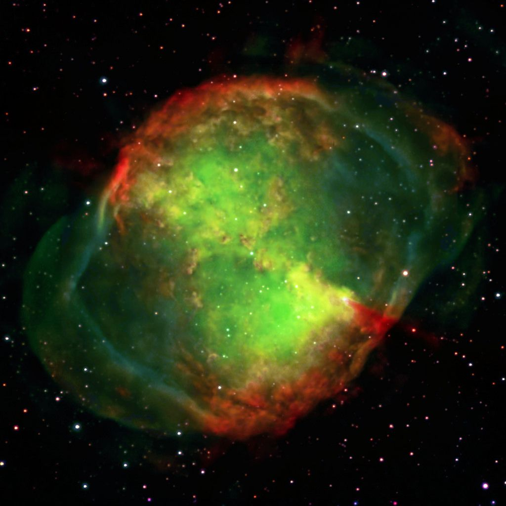 The Dumbbell nebula (Messier 27). It's a planetary nebula located in the constellation Vulpecula.