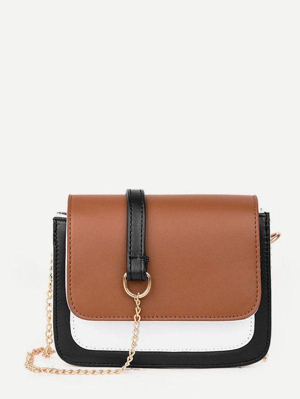 adfa9afcde4b Color Block Flap Chain Bag -SheIn(Sheinside)