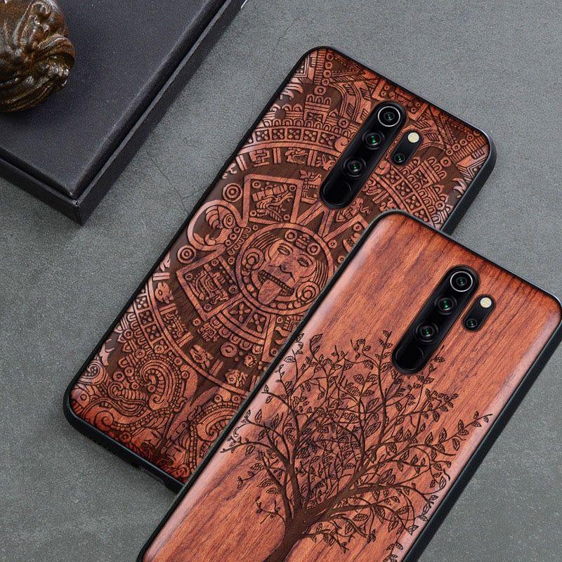 Carved Wood Case For Xiaomi Redmi Note 8 Xiomi Redmi Note 8 Pro Shockproof Case Tpu Cover On Redmi Note 8 Pro Case Wood Shell Phone Shell Wood Case Wood Phone Case