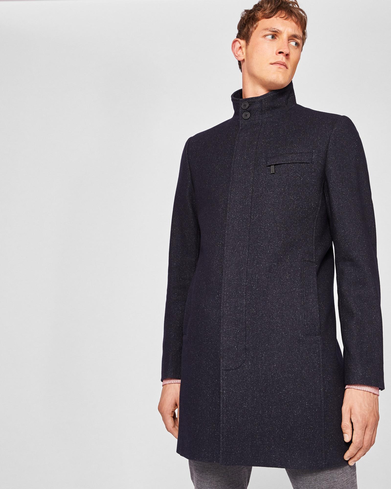 d460fb75a2d8 Ted Baker Funnel neck wool-blend coat Dark Blue