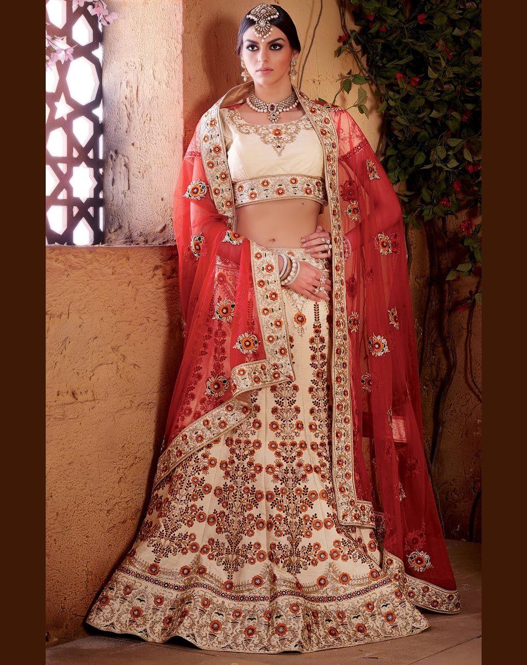 Raw silk wedding dress  Cream Banarasi Raw Silk Wedding Lehenga Choli   KATALOG by