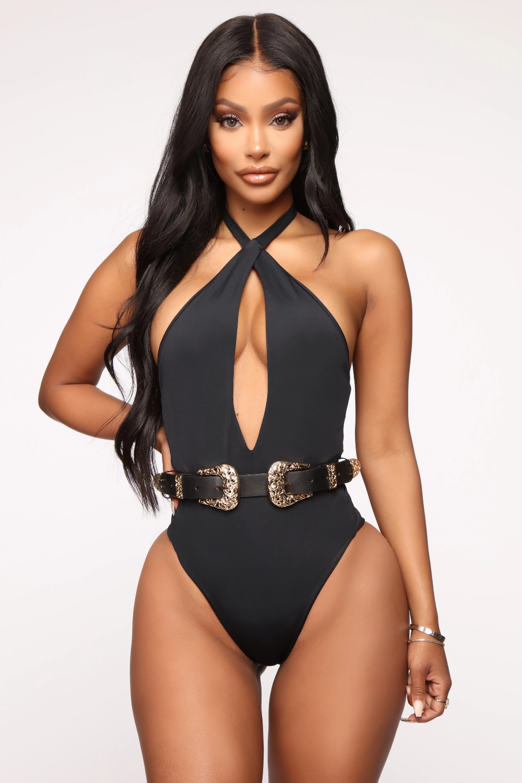 Riding Solo Western Double Buckle Swimsuit Black Gold Black Swimsuit Swimsuits Fashion Nova Models