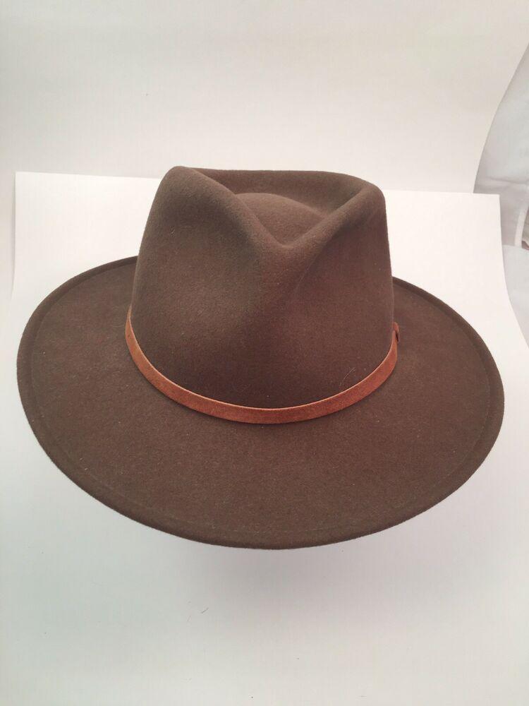 Broner lite felt 100 wool hat fedora with brim 7 38 size