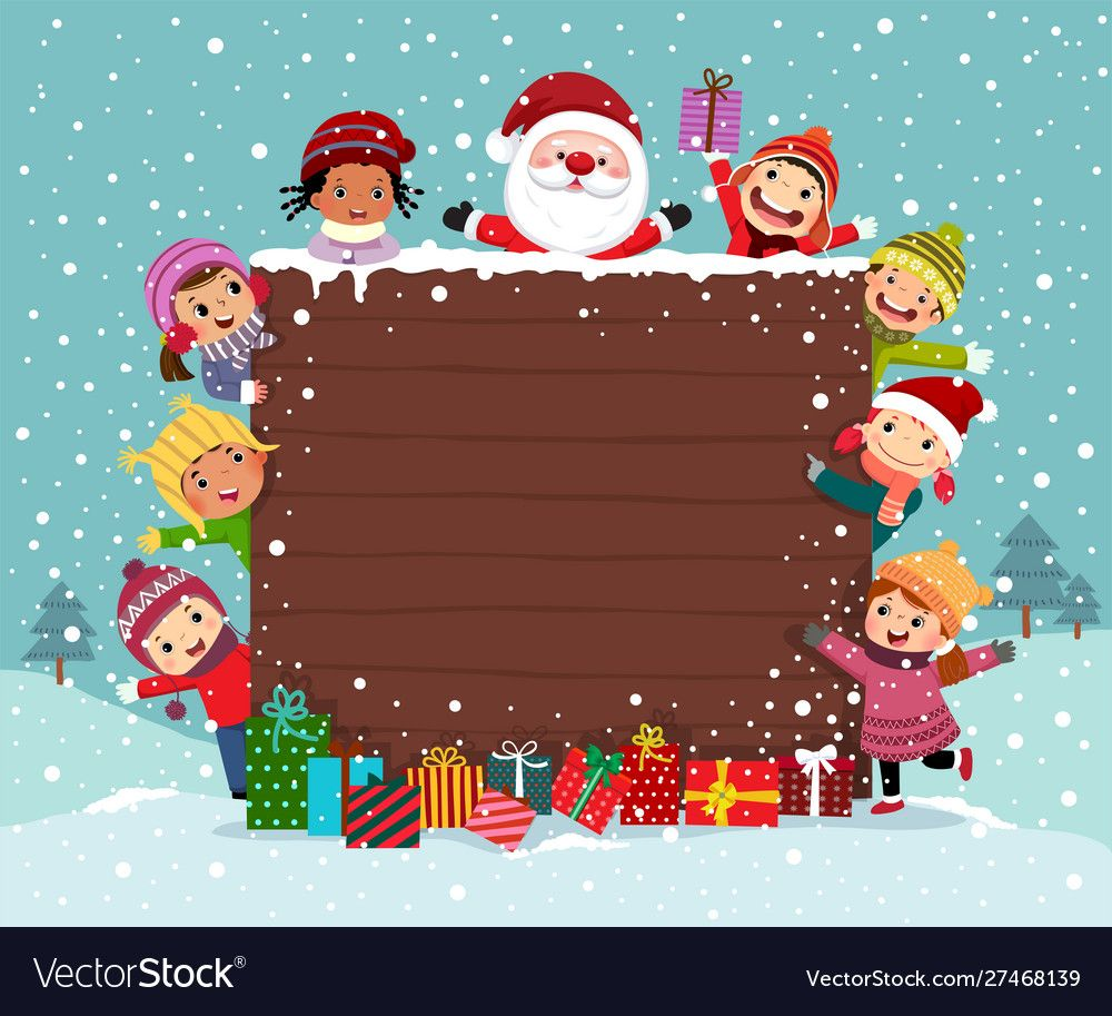 merry christmas background wooden board with kids vector image on vectorstock christmas background images merry christmas background christmas background pinterest