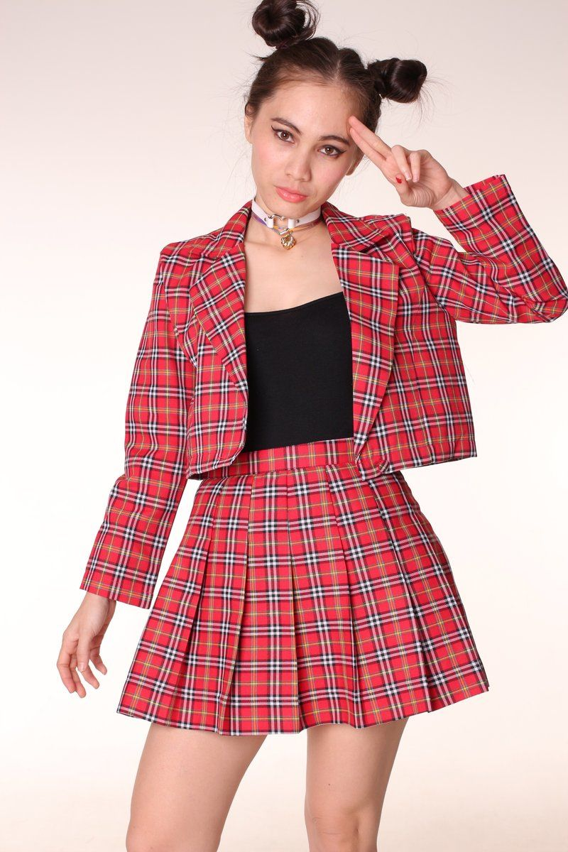 As If Blazer and Pleated Skirt set in Red Tartan