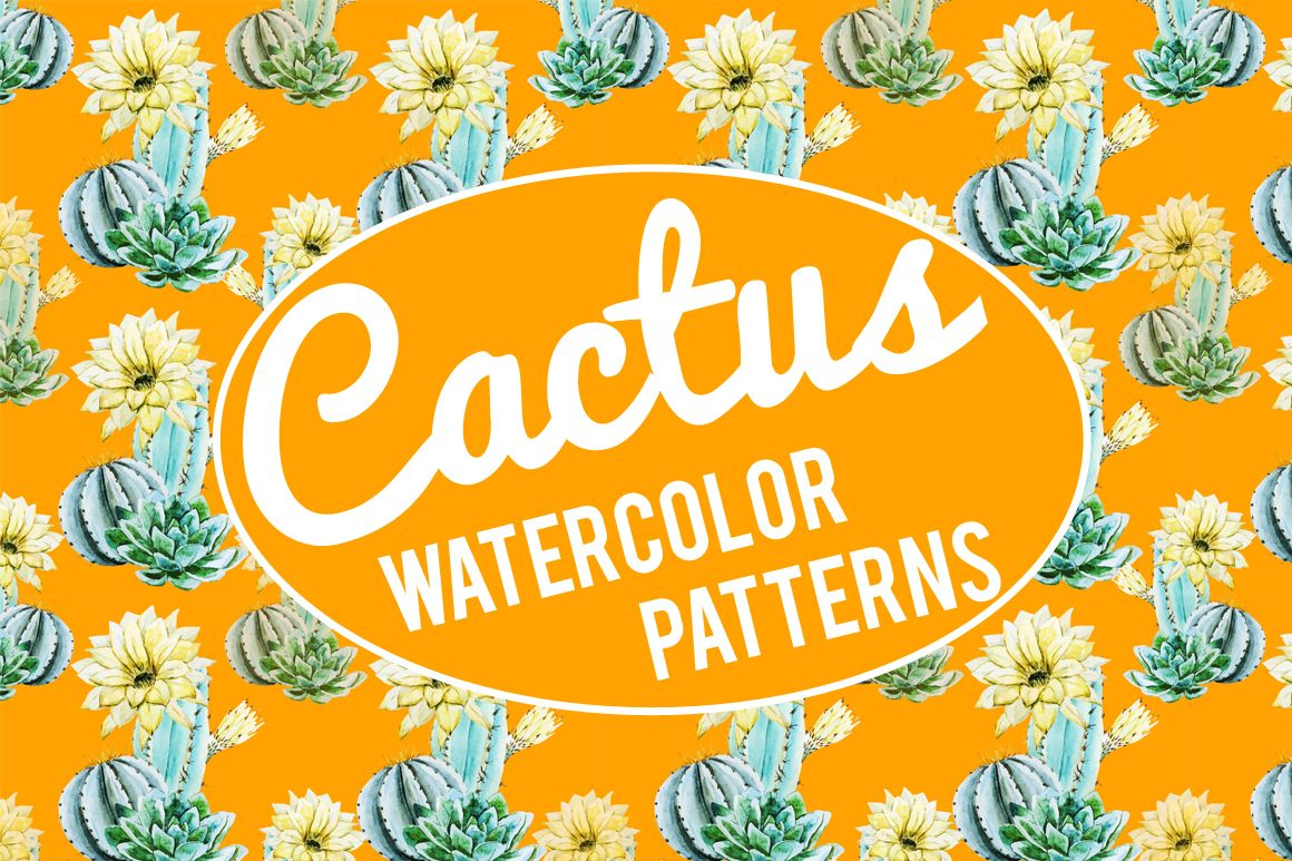 Watercolor cactus patterns by Watercolor Gallery on Creative Market