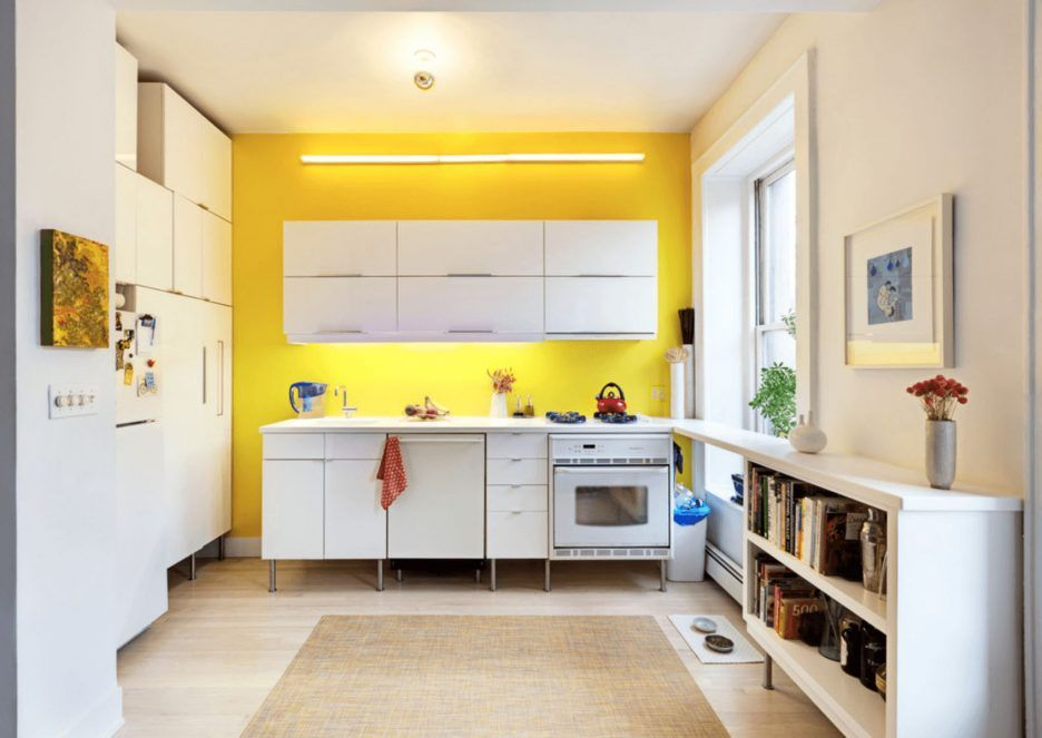 vibrant kitchen yellow backsplash white storages wall mount cabinet base cabinet countertops on kitchen interior yellow and white id=77135