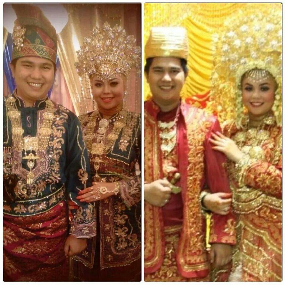 Baju adat pernikahan Melayu (Hijau) dan Minang (Merah) Sunting