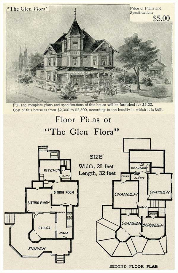 1905 Glen Flora Queen Anne Style Plan by Hodgson