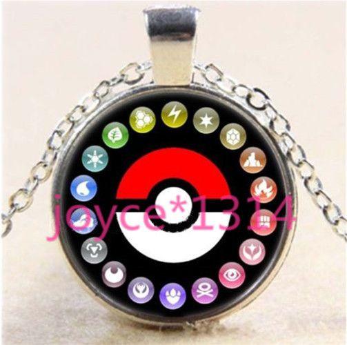Pokemon Pikachu Pokeball Cabochon Glass Tibet Silver Chain Pendant Necklace