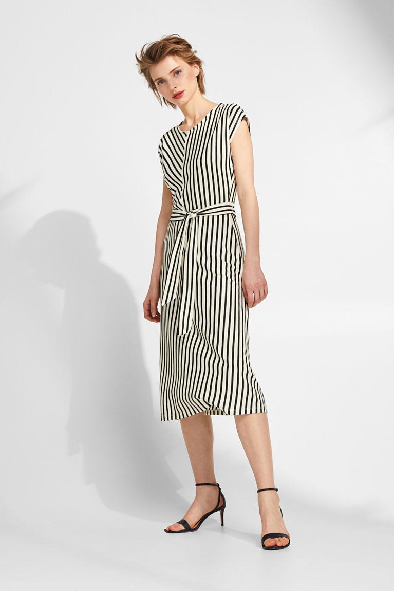 Esprit - Strukturiertes Jersey-Stretch-Kleid mit Streifen im