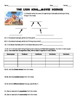 lion king movie ecology assessment worksheet with analysis questions llc middle school. Black Bedroom Furniture Sets. Home Design Ideas