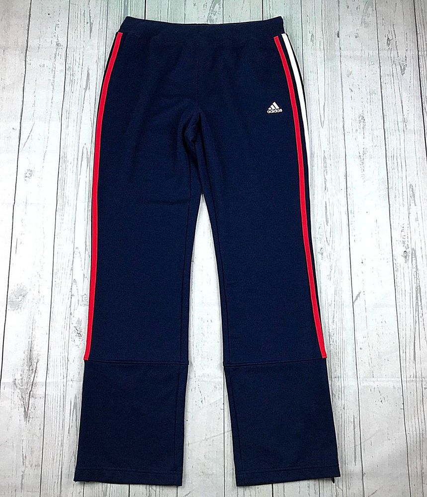 Adidas Womens M Blue Red White Stripes Ankle Zip Warmup Workout