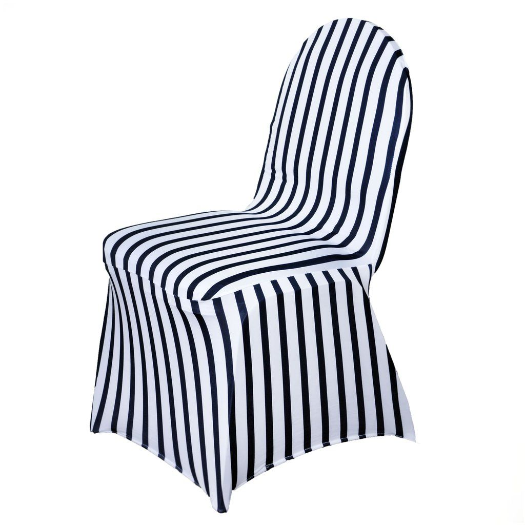 spandex banquet chair covers for sale adjustable desk black white striped stretch cover chic