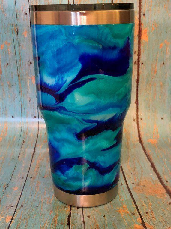 8cb46910853 Blue Swirl Alcohol Ink Tumbler. Blue Swirl Alcohol Ink Tumbler Glitter  Tumblers, Epoxy ...