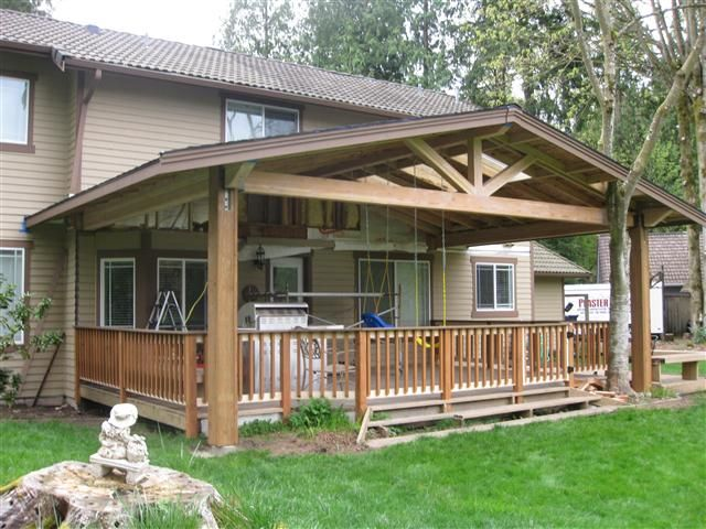 Covered decks decks patios and garden pinterest for Cost to build a covered deck
