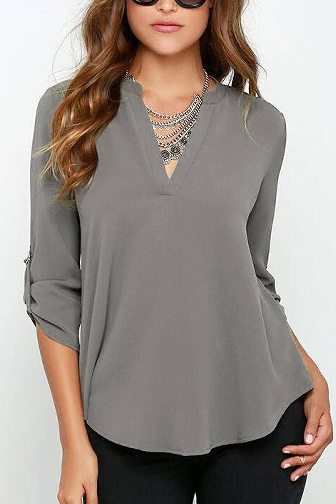 c8d80a66902f V Neck Blouse with Adjustable Sleeves - US$18.95 | clothing spring ...