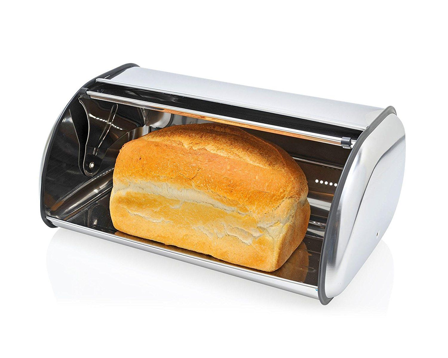 Home Basics Bb44457 Stainless Steel Bread Box With Glass Click