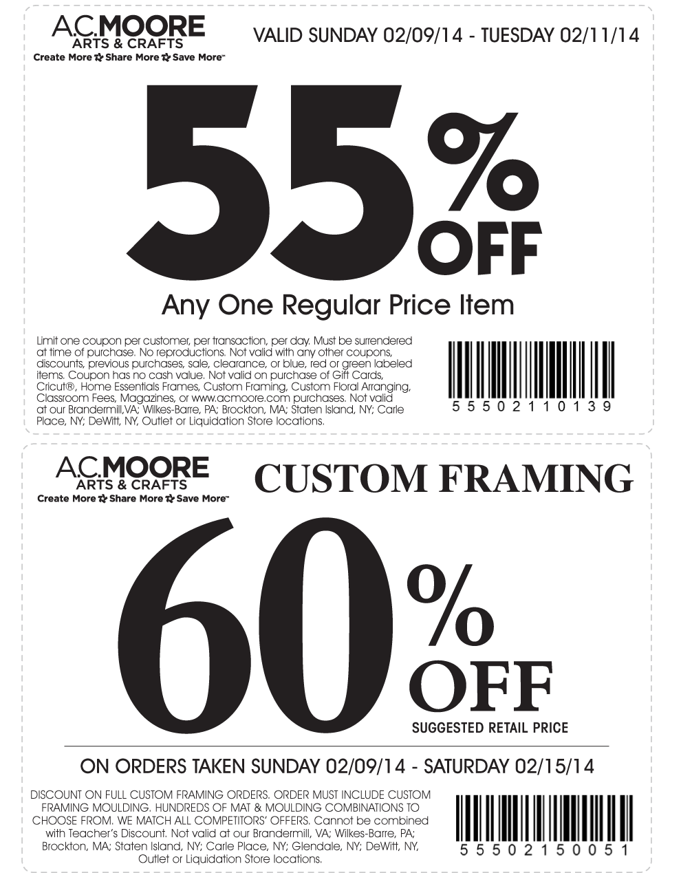 graphic relating to Ac Moore Printable Coupons referred to as Pinned February 10th: 55% off a solitary product at A.#C. Moore