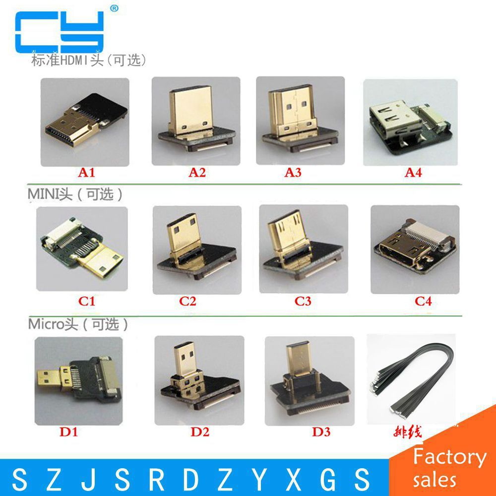 FPV Micro HDMI Mini HDMI 90 grad Adapter 5 cm-100 cm FPC Band ...