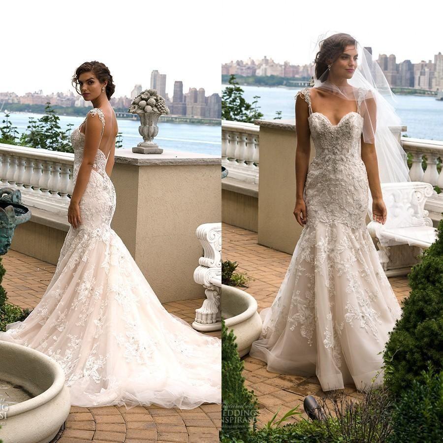 Cheap White Ivory Wedding Dresses Mermaid Lace Appliques: Modest Mermaid Wedding Dresses 2016 White Ivory Sweetheart