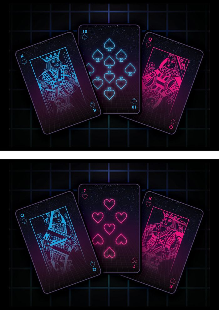 The Neon Forever Retro Style Playing Cards Deck Ks Playing