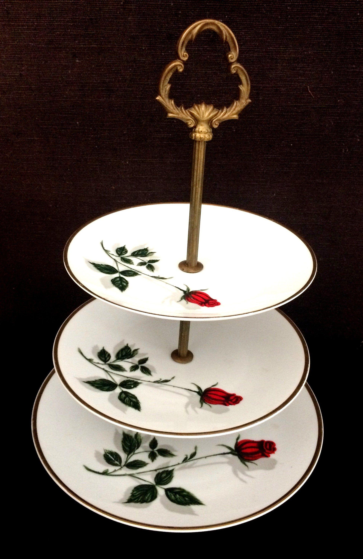 Porcelain Etagere Collection Plate Bavaria Etsy Porzellan Rosendekor Altes Porzellan