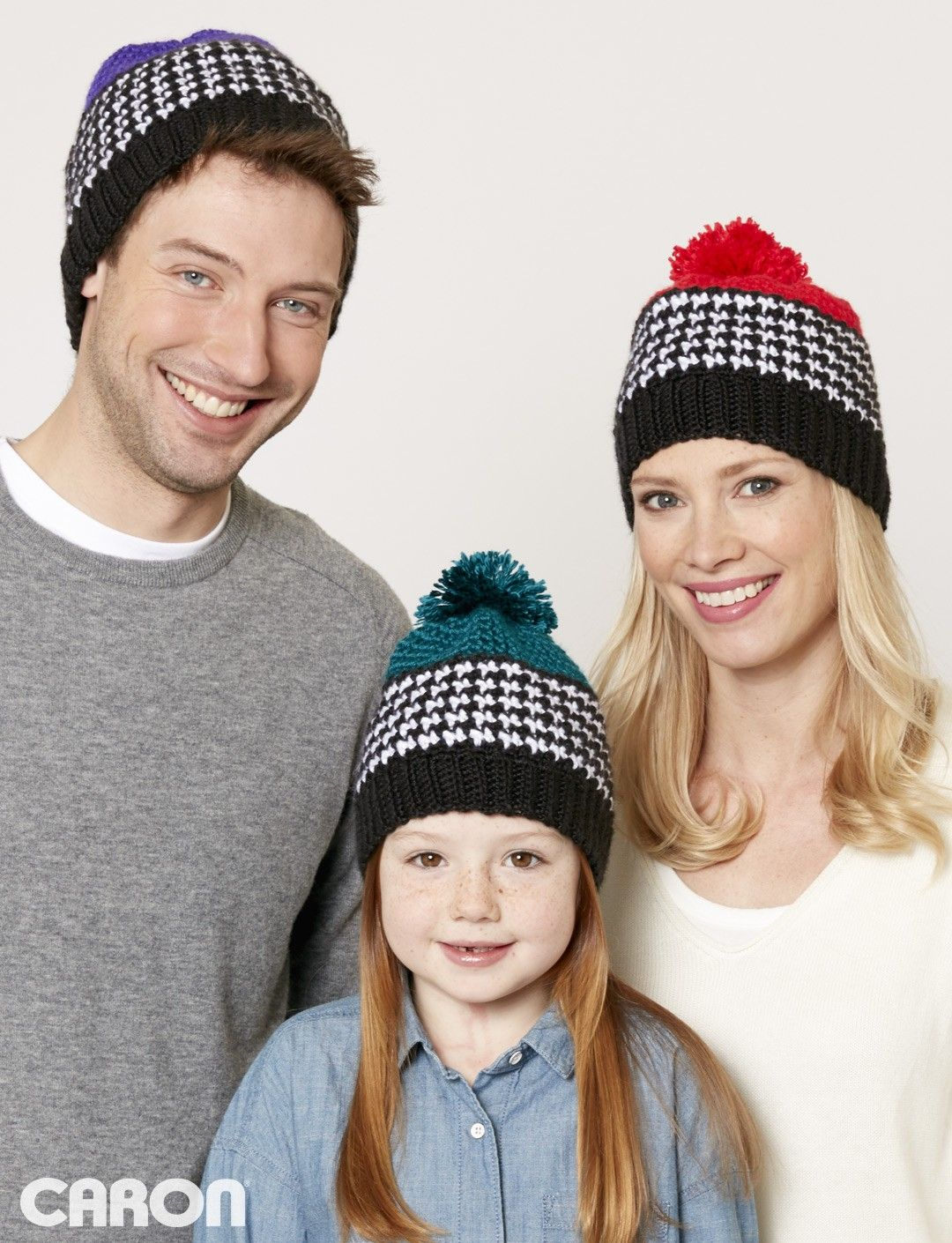 Caron Houndstooth Bright Hat - Free Pattern @ Yarnspirations